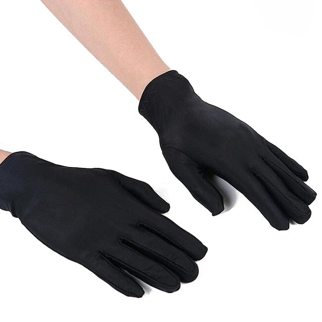 fashion 1 Pair Spring Summer Spandex Gloves Men Black White Etiquette Thin Stretch Gloves Dance Tight White Jewelry Gloves