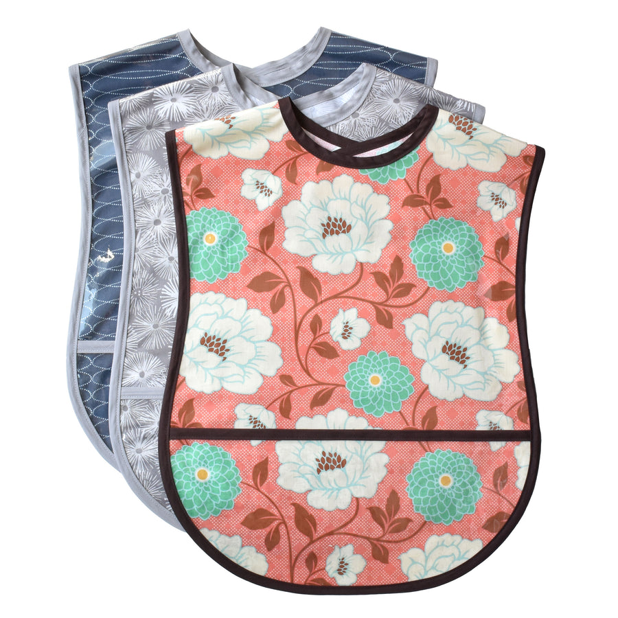 Set of 3 designer adult bibs, vinyl covered with crumb pocket