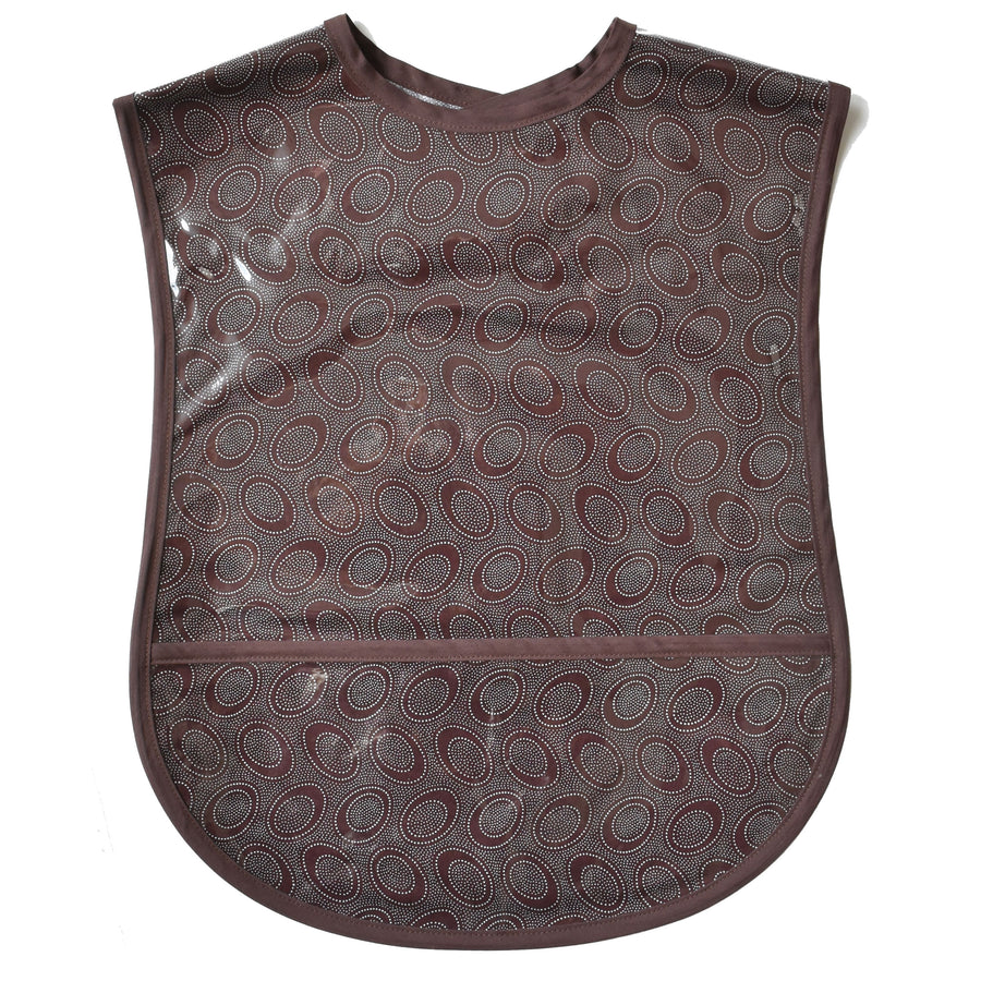 Chocolate Dots Vinyl Adult Bib