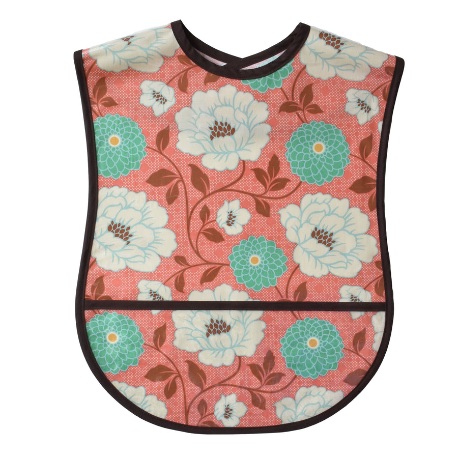 Vinyl covered Coral Dahlia adult bib with crumb pocket and adjustable neck