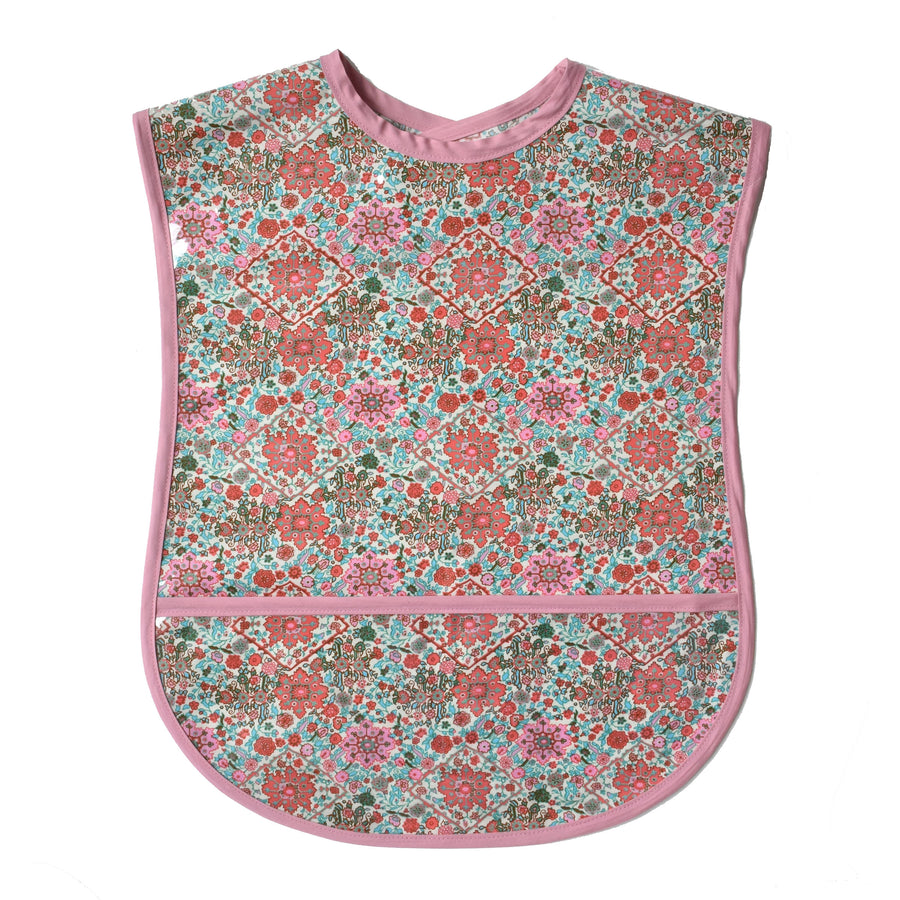 Vinyl covered Kaleidoscope adult bib with crumb pocket and adjustable neck