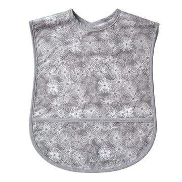 Vinyl covered adult bib with crumb pocket and adjustable neck