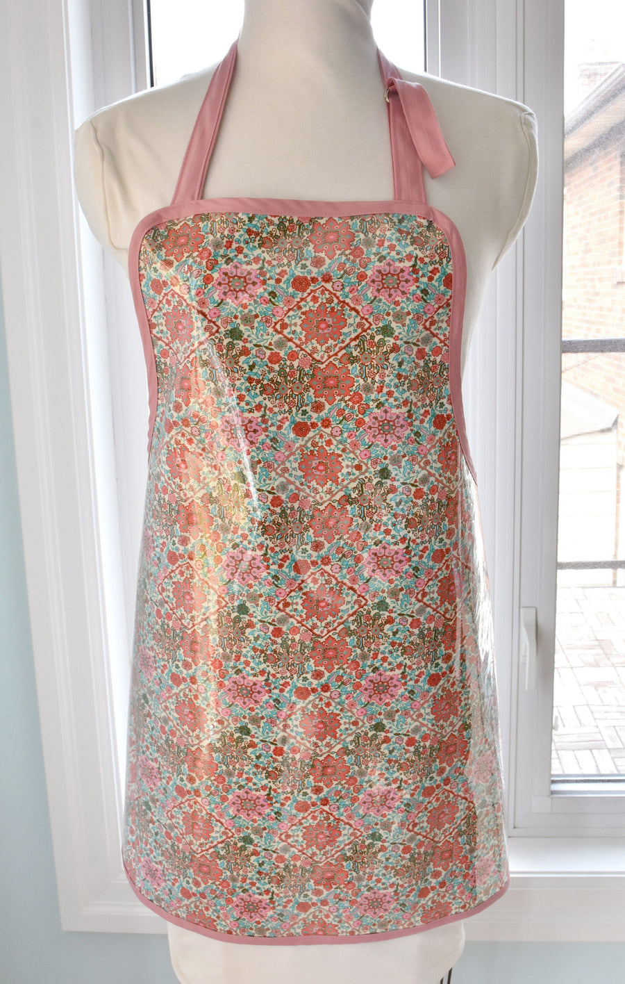 vinyl covered pink floral full apron