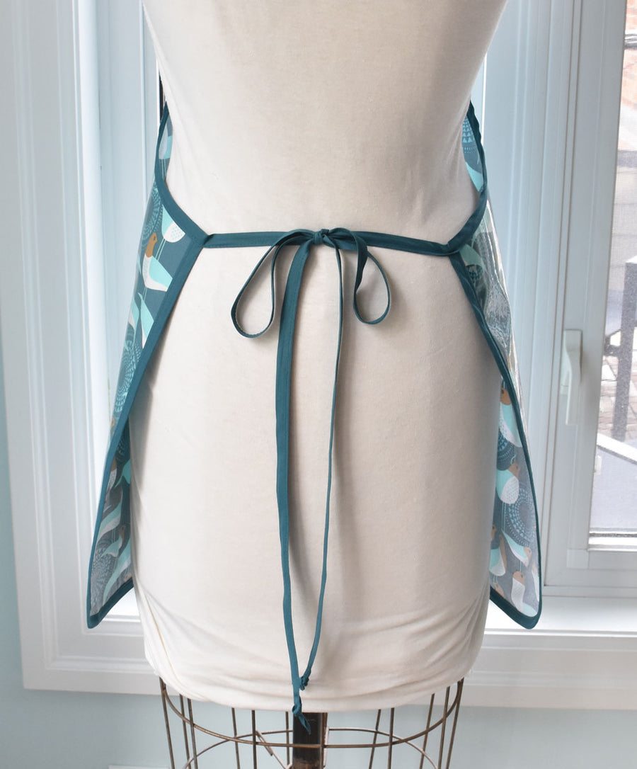 Blue Peacocks Vinyl Apron