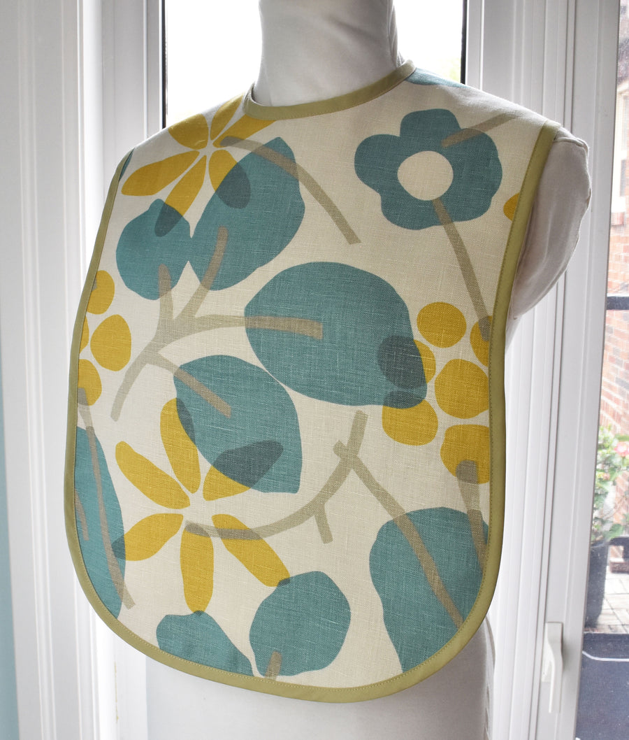 Linen Flowers Reversible Adult Bib