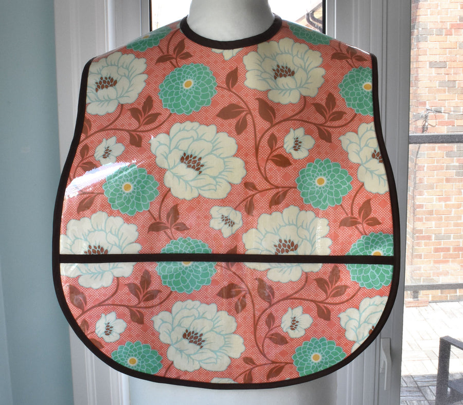 Coral Dahlia Extra Large Adult Bib