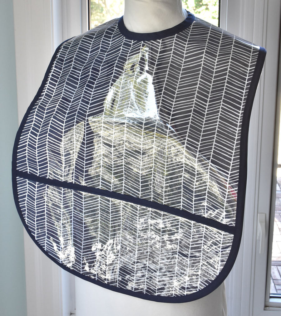 Navy Herringbone Extra Large Adult Bib