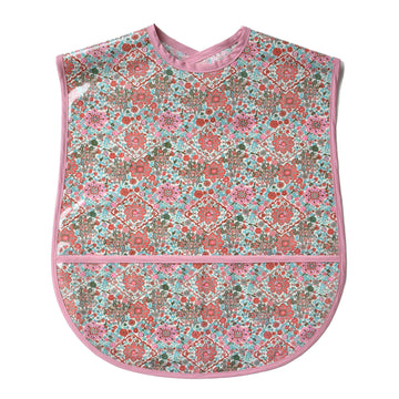 Vinyl covered Kaleidoscope extra large adult bib with crumb pocket and adjustable neck