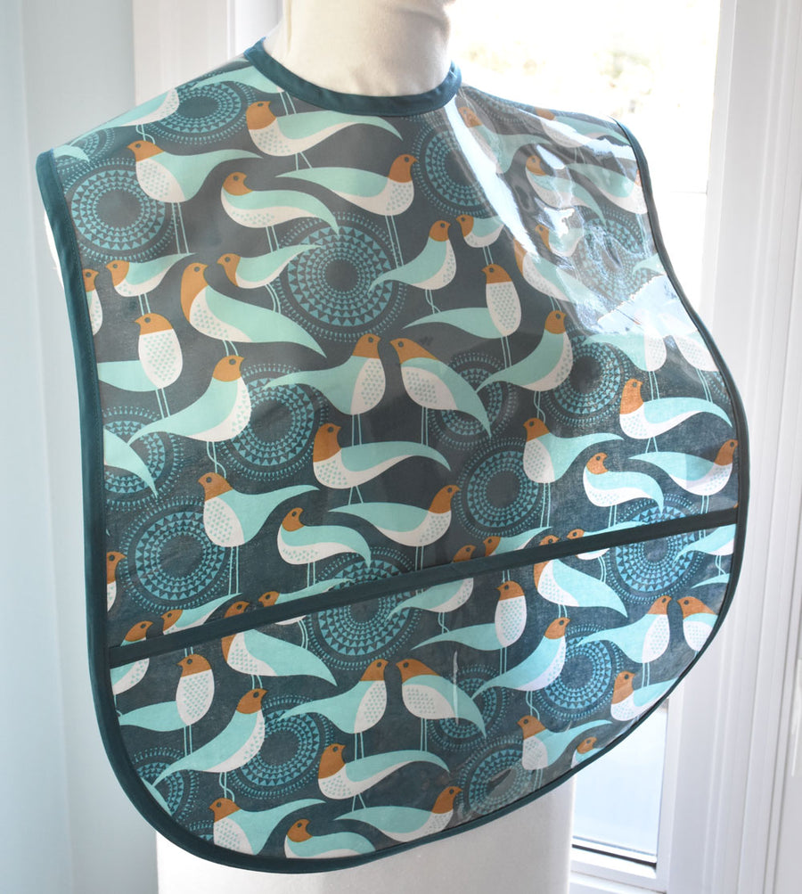 Blue Peacock Extra Large Adult Bib
