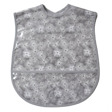 Vinyl covered extra large adult bib with crumb pocket and adjustable neck