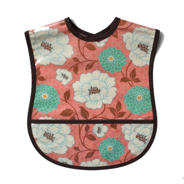 Vinyl covered coral print extra small adult bib with crumb pocket and adjustable neck