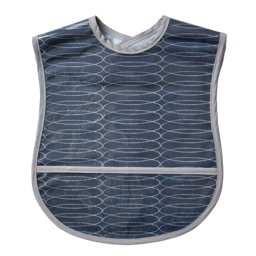 Vinyl covered Grey Swirl extra small adult bib with crumb pocket and adjustable neck