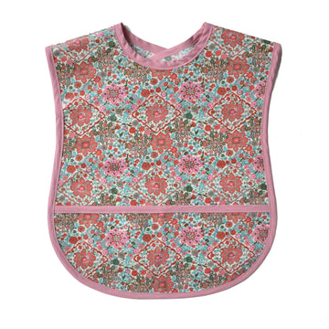 Vinyl covered pink floral extra small adult bib with crumb pocket and adjustable neck