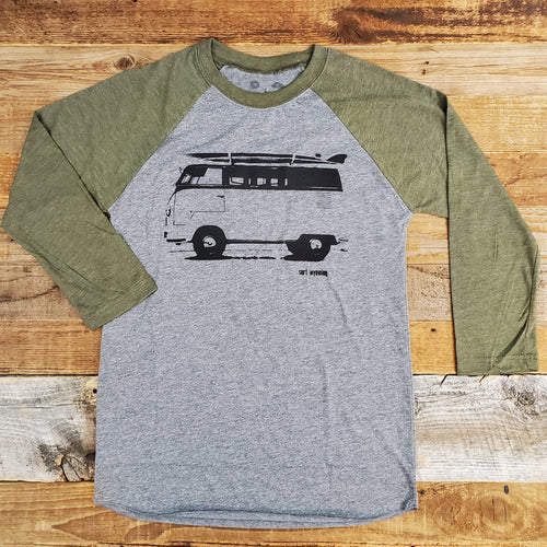 Surf Wyoming-Women's Surf Wyoming® Vanlife 2.0 3/4 Sleeve Baseball Tee - Heather Grey/Olive-