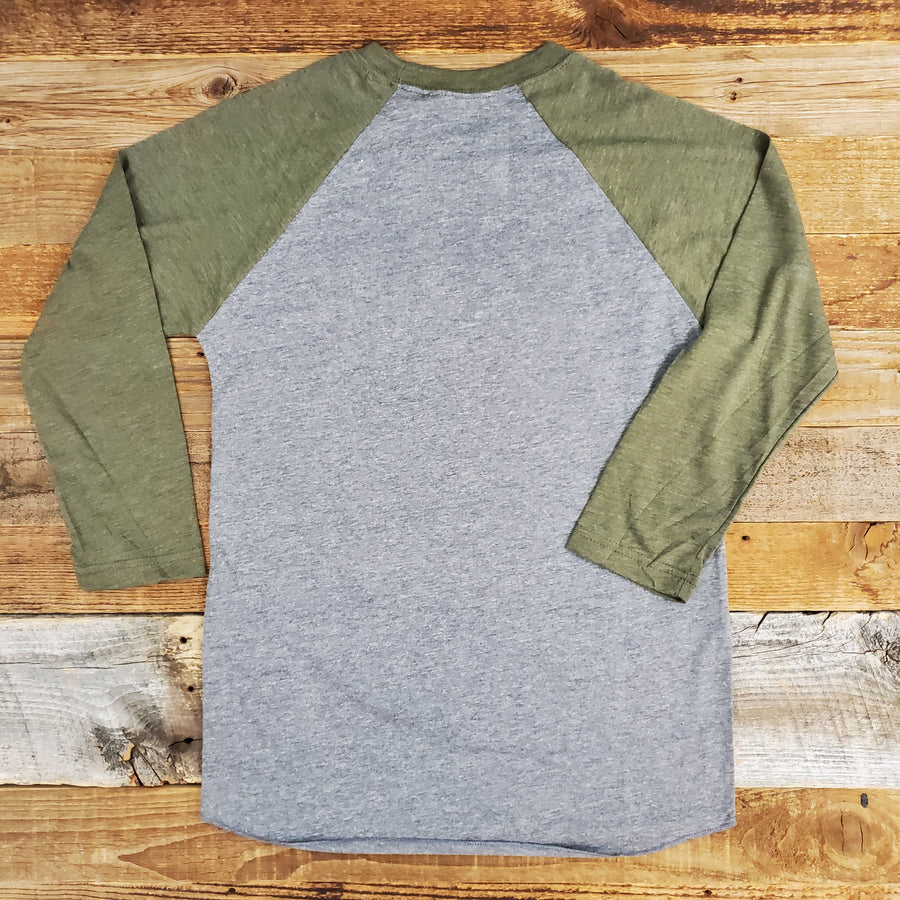 Women's Surf Wyoming® Vanlife 2.0 3/4 Sleeve Baseball Tee - Heather Grey/Olive