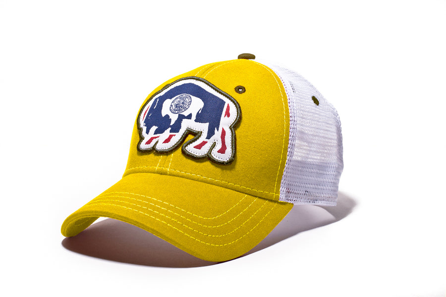 Surf Wyoming® Flag Bison Trucker - Gold