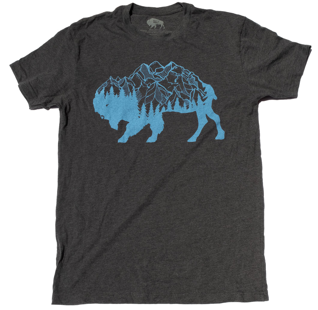 Surf Wyoming-Men's SURF WYOMING® Bison Peak Tee- Charcoal-