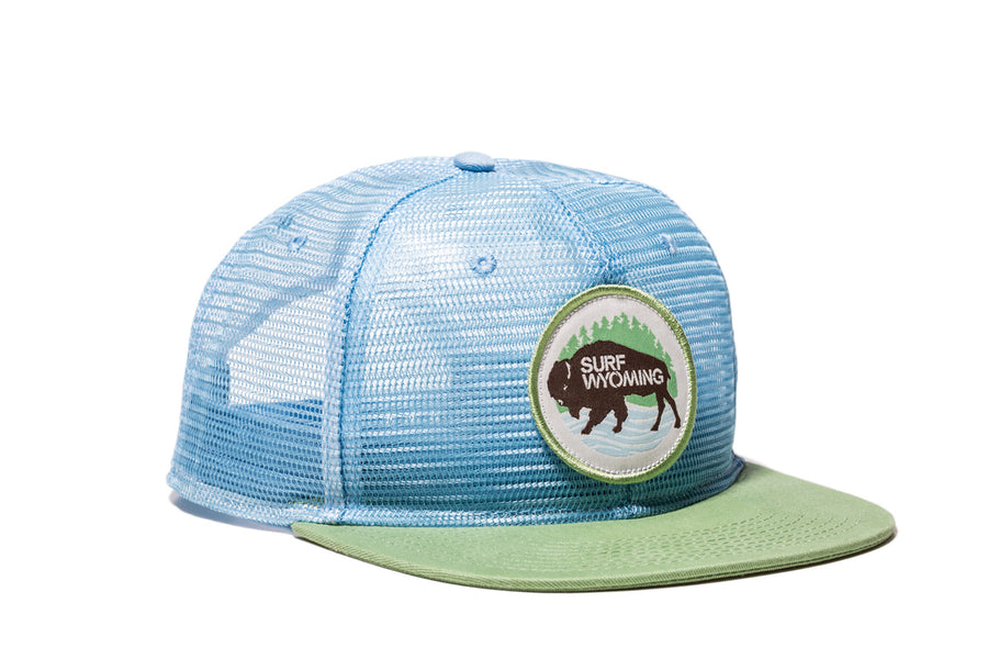 First Park Allover Mesh Trucker - Light Blue + Kiwi