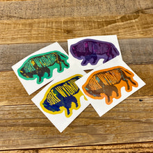 Load image into Gallery viewer, Surf Wyoming Intermix Bison Sticker - Yellow/Blue
