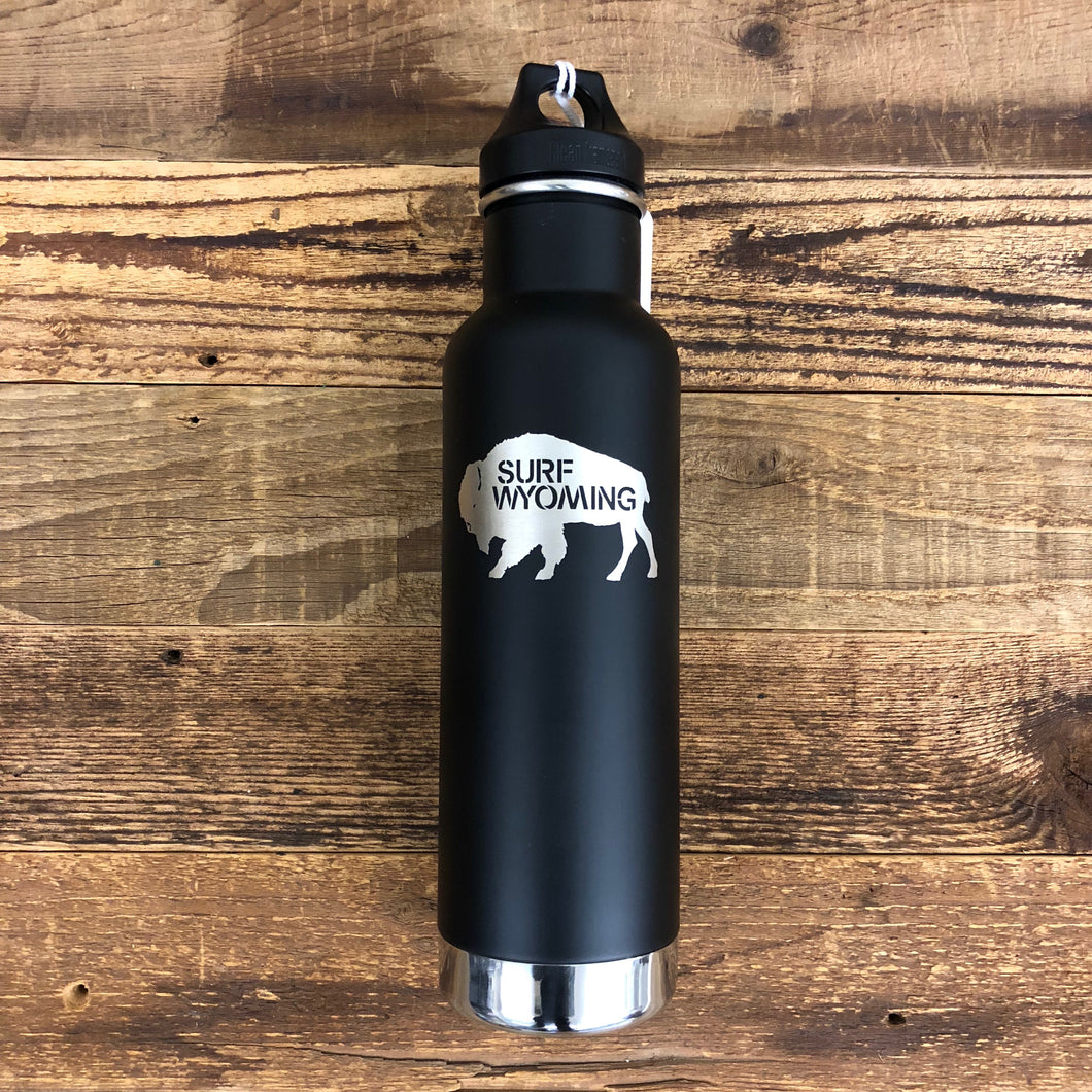 Surf Wyoming-20oz. Insulated Stainless Steel Surf Wyoming x Klean Kanteen Bottle - Black Matte/Silver - Insulated-
