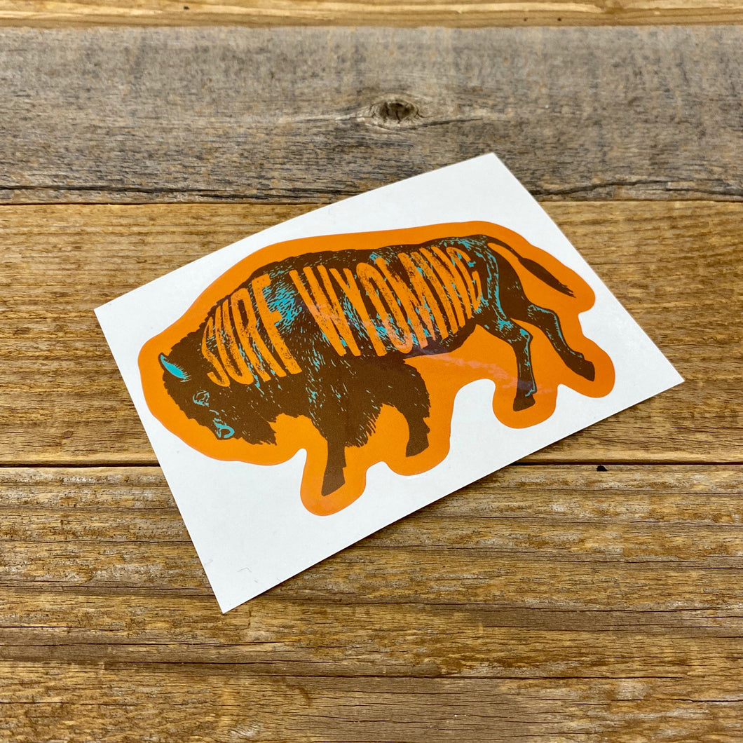 Surf Wyoming-Surf Wyoming Intermix Bison Sticker - Brown/Teal-