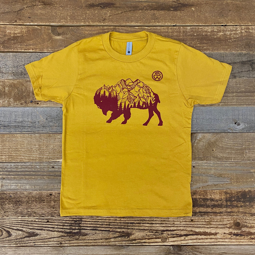 Surf Wyoming-Youth Bison Peak Tee - Mustard-