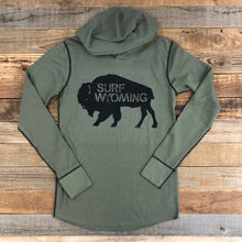 Load image into Gallery viewer, Surf Wyoming-Unisex Bison Logo Hooded Thermal - Military Green-