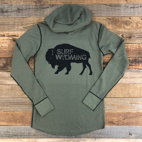 Surf Wyoming-Unisex Bison Logo Hooded Thermal - Military Green-