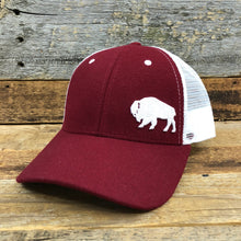 Load image into Gallery viewer, Surf Wyoming-First Park Bison Felt Trucker Hat - Crimson-