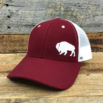 First Park Bison Trucker Hat - Felt Crimson
