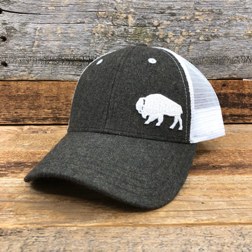 First Park Bison Trucker Hat - Felt Olive