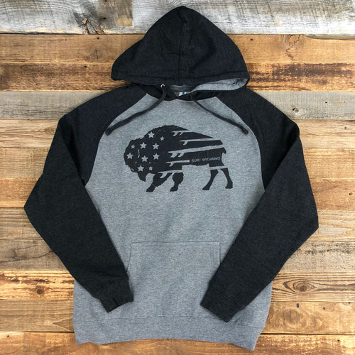 Surf Wyoming-UNISEX SURF WYOMING® Bison Quiver Hoodie - Heather Grey/Black-