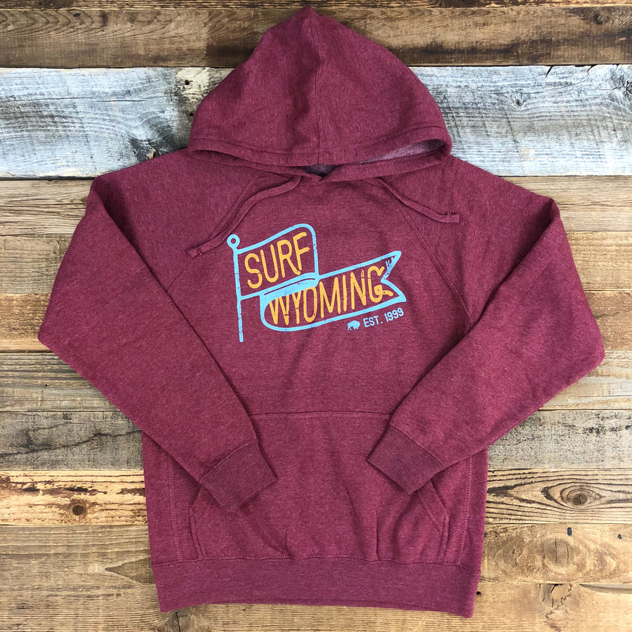 UNISEX SURF WYOMING® Vintage Flag Hoodie - Crimson