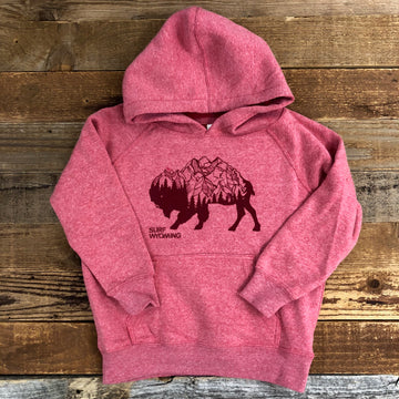 Surf Wyoming® Toddler BISON PEAK Hoodie - Pomegranate