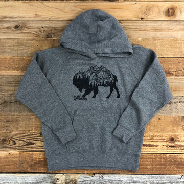 Surf Wyoming® Youth BISON PEAK Hoodie - Heather Grey