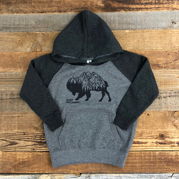 Surf Wyoming® Toddler BISON PEAK Hoodie - Heather Grey/Black