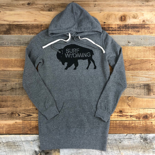 Surf Wyoming-Women's SURF WYOMING Bison Logo Hoodie Dress - Heather Grey-