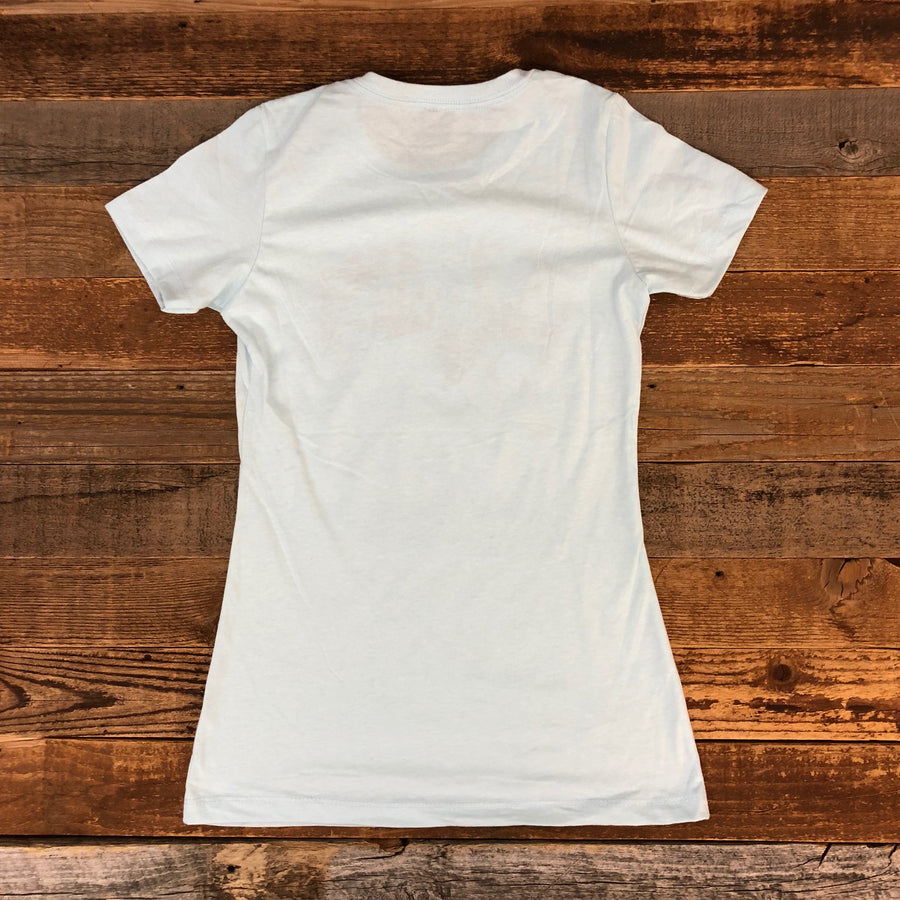 Surf Wyoming® Women's BRIDLED BISON Tee - Ice Blue