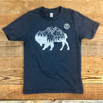Surf Wyoming® Youth BISON PEAK Tee - Midnight Navy