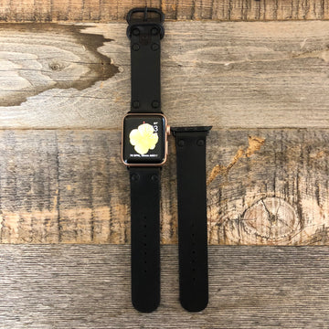 Surf Wyoming Leather APPLE iWatch Band- Black