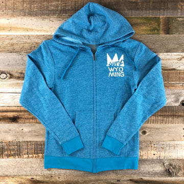 Women's Surf Wyoming® Splash Bison Zip Hoodie- Blue