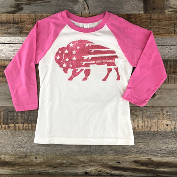 Youth Surf Wyoming® Bison Quiver 3/4 Sleeve- Pink