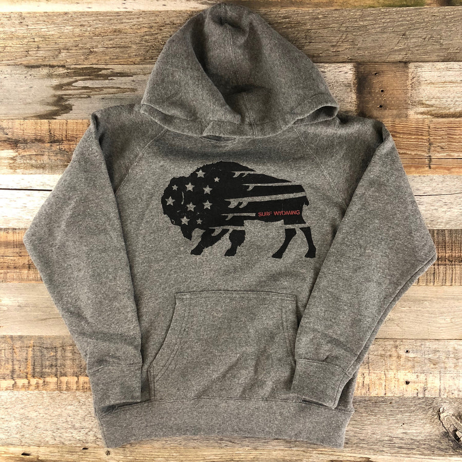 Youth Surf Wyoming® BISON QUIVER HOODIE- Heather Grey