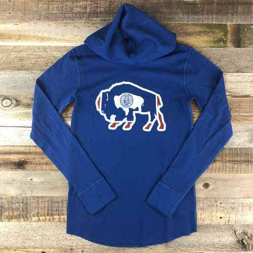 Surf Wyoming-Unisex Bison Surf AR Hooded Thermal- Blue-