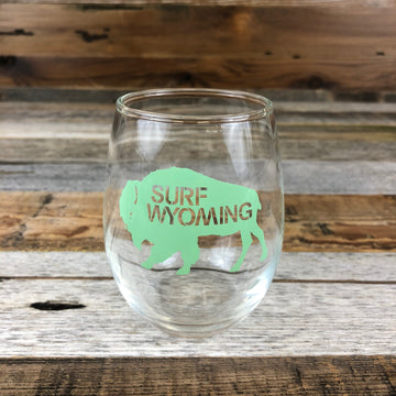 Surf Wyoming® Big Bison WINE Glass - Tahiti Green