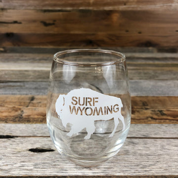 Surf Wyoming® Big Bison WINE Glass - White