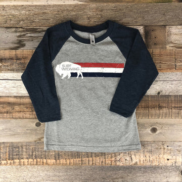 Youth Surf Wyoming® Wyomerica Baseball Tee- Heather Grey/Navy