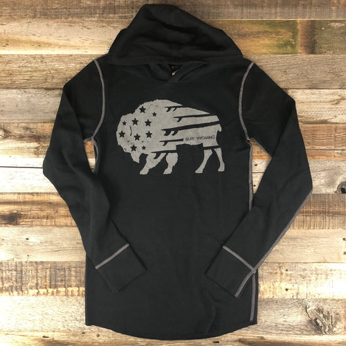 Surf Wyoming-Unisex Bison Surf Quiver Hooded Thermal- Blackout-