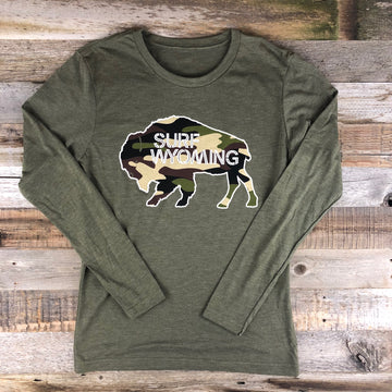 Men's SURF WYOMING®  Bison Logo Long Sleeve -Military/Camo