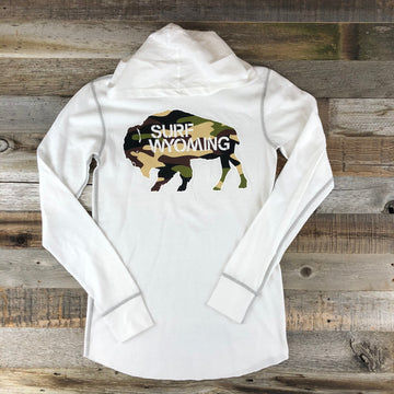 Unisex Surf Wyoming Bison Logo Hooded Thermal- White/Camo